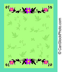 Frame of Gentle Green Leaves and Flowers