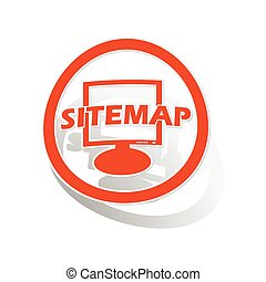 Sitemap sign sticker, orange circle with image inside, on...