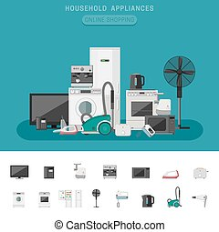 Household appliance banner with vector flat icons microwave,...
