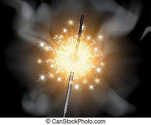 Sparkler - Burning sparkler on a black background, vector...