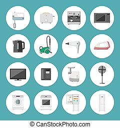 Household appliance icons - Home household appliances vector...