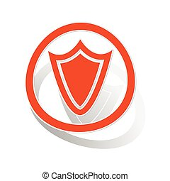 Shield sign sticker, orange