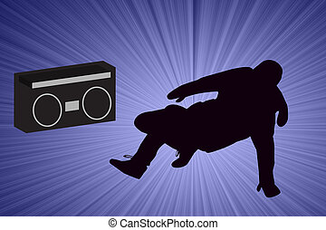 Breakdancer Dancing with Old School Boom Box Silhouette...