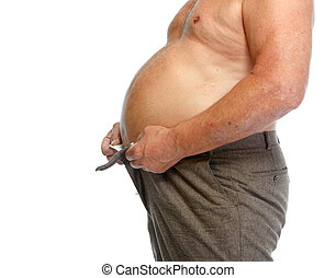 Fat man belly. - Senior man with fat stomach. Lose weight...