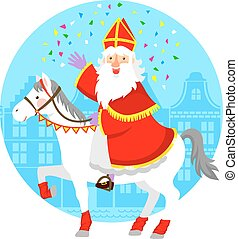 sinterhorse.eps - cartoon Sinterklaas or St. Nicholas riding...