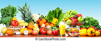 Fresh vegetables and fruits. - Fresh organic vegetables over...