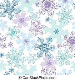 Blue Purple Detailed Snowflakes Holiday Seamless Pattern...