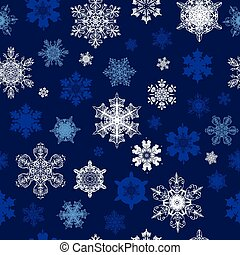 Dark Blue White Snowflakes Winter Holidays Seamless Pattern...