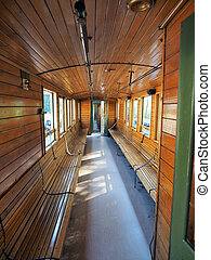 interior of luxury old train carriage