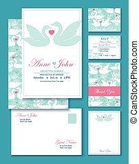 Vector Swans Wedding Invitation Set. RSVP, Thank You Card,...
