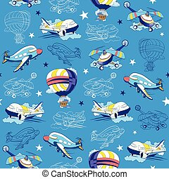 Transport Airplane Helicopter Seamless Pattern. Hot Air Baloon. Sky Lineart