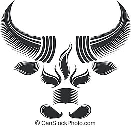 bull head - black and white bull head pattern design
