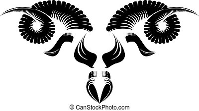 sheep head - black and white sheep head pattern design