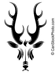 deer head - black and white deer head pattern design