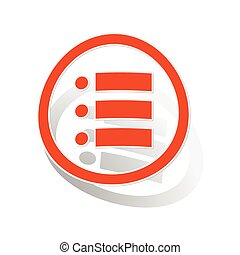 Dotted list sign sticker, orange circle with image inside,...
