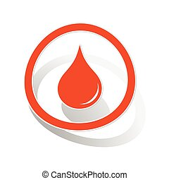 Water drop sign sticker, orange