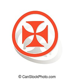 Maltese cross sign sticker, orange circle with image inside,...