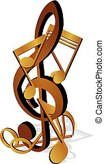 Notes on the treble clef - Vector illustration of musical...