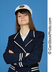 Portrait of the proud woman - captain on blue - Portrait of...