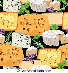 Seamless cheese and herbs - Various cheese and herbs vector...