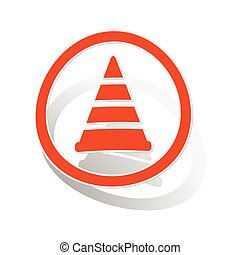 Traffic cone sign sticker, orange circle with image inside,...