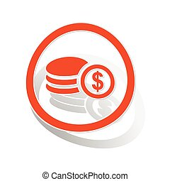 Dollar rouleau sign sticker, orange circle with image...