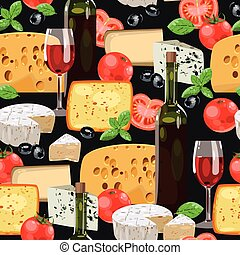 Wine and cheese seamless - Wine, tomato and cheese vector...