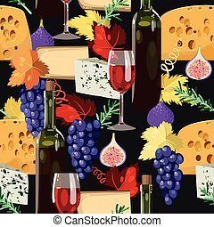 Wine and cheese seamless - Wine, cheese and grape vector...