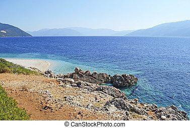 Aspros Gialos beach in Ithaca - Aspros Gialos beach in...