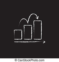 Bar chart upward icon drawn in chalk.