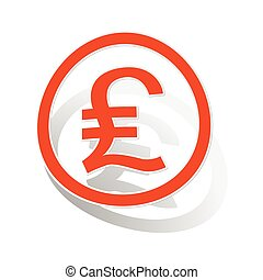 Pound sterling sign sticker, orange circle with image...
