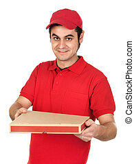 Boy with red uniform delivering a pizza box isolated on...