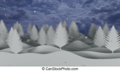 snowfall video background with white trees and snowflakes -...