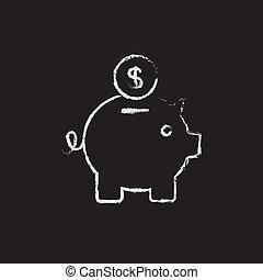 Piggy bank and dollar coin icon drawn in chalk - Piggy bank...