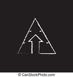 Pyramid with arrow up icon drawn in chalk.
