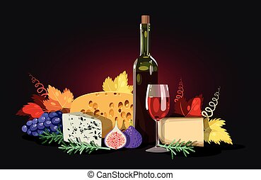 Wine and cheese composition - Composition of wine, cheese...