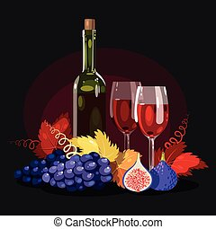 Wine, grapes and figs