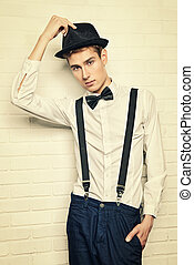 well-dressed - Portrait of a handsome young man in elegant...