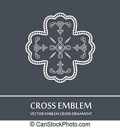 Vector emblem cross ornament