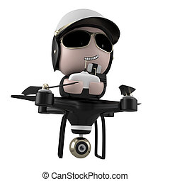 Policedrone - Policedrone Flying Isolated on White...