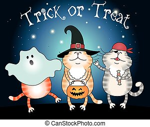 Cats trick or treating - Illustration of funny cats the...