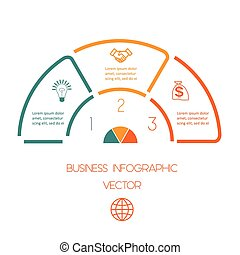 Line infographic 3 positions - Business infographic for...
