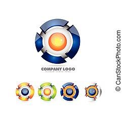 Sphere logo set 3d icon