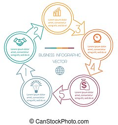 Cycles Infographic five positions - Circles with arrow...