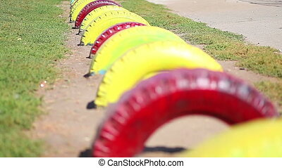 tires on the playground sun summer sport