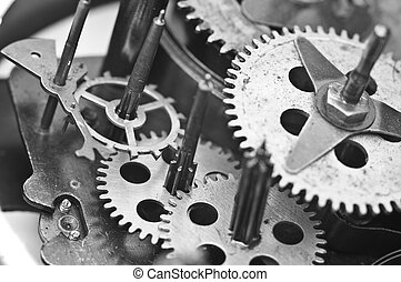 Black white Cogwheels Clockwork. Macro - Black white Metal...