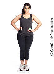 Woman on weight scale - An isolated shot of a unhappy woman...