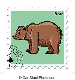 stamp with bear