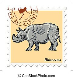 stamp with rhinoceros