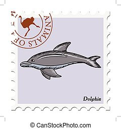 stamp with dolphin